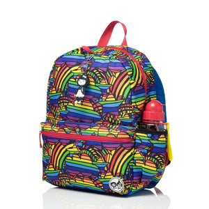Zip and Zoe by Babymel Junior backpack rainbow multi, front side view | school bags for boys | boys backpack | school bags for girls | backpacks for girls | kids school bags | kids backpacks