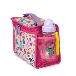 Zip and Zoe by Babymel zipped lunchie and ice pack llama, side view with water bottle  | lunch bag | girls lunch bag | ice pack