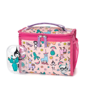 Zip and Zoe by Babymel zipped lunchie and ice pack llama, front view with Zoe cactus ice pack | lunch bag | girls lunch bag