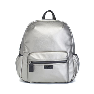 Babymel changing bag, Luna vegan leather pewter, front view, metallic PU faux leather backpack, rucksack baby bag