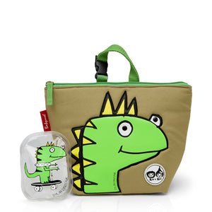 Zip and Zoe by Babymel lunch bag + ice pack dylan dino face, front view with dylan ice pack | lunch bag | boys lunch bag | girls lunch bag