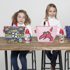 Zip and Zoe by Babymel lunch bag + ice pack daisy dragon face, two girls sitting at a table with lunch bag and water bottles | lunch bag | girls lunch bag | ice pack