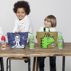 Zip and Zoe by Babymel lunch bag + ice pack dylan dino face, two boys sitting at table with lung bags and water bottles | lunch bag | boys lunch bag | girls lunch bag | ice pack