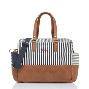 Babymel changing bag, Millie Navy Stripe, front view, laminated changing bag, shoulder bag baby bag
