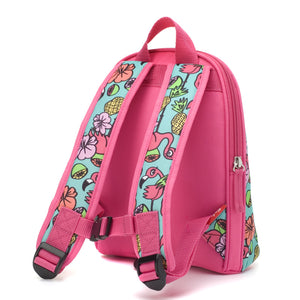 Zip and Zoe by Babymel mini backpack & safety harness-reins flamingo, back view | toddler backpack with reins | toddler rucksack | backpacks for girls | kids school bags | kids backpacks