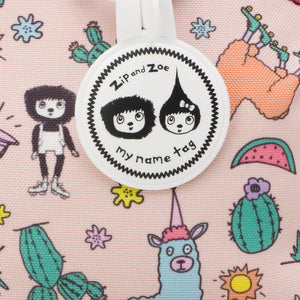 Zip and Zoe by Babymel mini backpack & safety harness-reins llama, close up of my name tag | toddler backpack with reins | toddler rucksack | backpacks for girls | kids school bags | kids backpacks