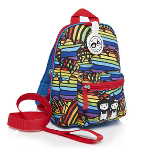 Zip and Zoe by Babymel mini backpack & safety harness-reins rainbow multi, front side view | toddler backpack with reins | toddler rucksack | boys backpack | backpacks for girls | kids school bags | kids backpacks