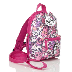 Zip and Zoe by Babymel mini backpack & safety harness-reins robot pink, front side view | toddler backpack with reins | toddler rucksack | backpacks for girls | kids school bags | kids backpacks