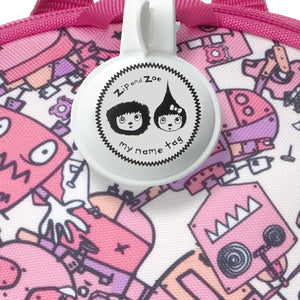 Zip and Zoe by Babymel mini backpack & safety harness-reins robot pink, close up of my name tag | toddler backpack with reins | toddler rucksack | backpacks for girls | kids school bags | kids backpacks