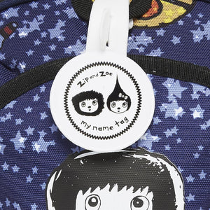 Zip and Zoe by Babymel mini backpack & safety harness-reins spaceman, close up of my name tag | toddler backpack with reins | toddler rucksack | boys backpack | backpacks for girls | kids school bags | kids backpacks
