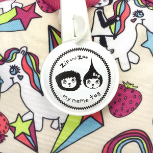 Zip and Zoe by Babymel mini backpack & safety harness-reins unicorn, close up of my name tag | toddler backpack with reins | toddler rucksack | backpacks for girls | kids school bags | kids backpacks