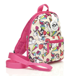 Zip and Zoe by Babymel mini backpack & safety harness-reins unicorn, front side view | toddler backpack with reins | toddler rucksack | backpacks for girls | kids school bags | kids backpacks