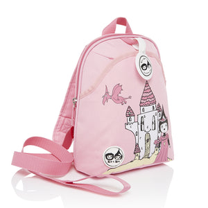 Zip and Zoe by Babymel mini backpack & safety harness-reins daisy dragon castle, front side view | toddler backpack with reins | toddler rucksack | backpacks for girls | kids school bags | kids backpacks