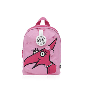 Zip and Zoe by Babymel mini backpack & safety harness-reins daisy dragon face, front view | toddler backpack with reins | toddler rucksack | backpacks for girls | kids school bags | kids backpacks