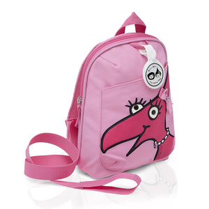 Zip and Zoe by Babymel mini backpack & safety harness-reins daisy dragon face, front side view | toddler backpack with reins | toddler rucksack | backpacks for girls | kids school bags | kids backpacks