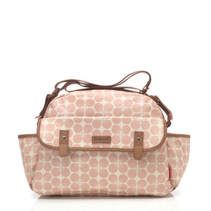 Babymel changing bag, Molly Pink Floral Dot, front view, laminated changing bag, shoulder bag baby bag