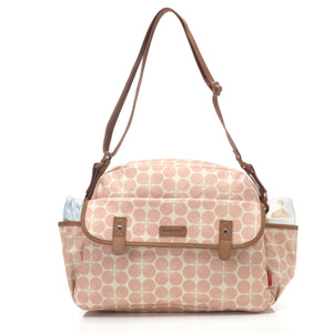 Babymel changing bag, Molly Pink Floral Dot, front view with milk bottles in pockets and long strap, laminated changing bag, shoulder bag baby bag