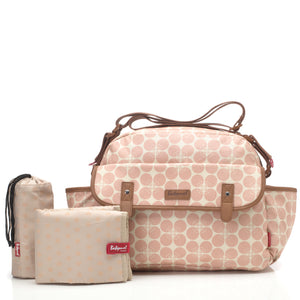 Babymel changing bag, Molly Pink Floral Dot, front view with changing mat and insulated bottle holder, laminated changing bag, shoulder bag baby bag