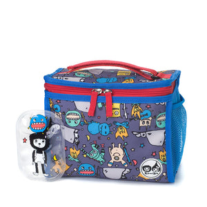Zip and Zoe by Babymel zipped lunchie and ice pack monster, front view with Zip and monster ice pack | lunch bag | boys lunch bag | girls lunch bag