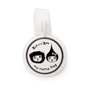 Zip and Zoe by Babymel my name tag, front view | name tag | keychain | collectable