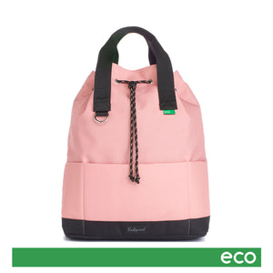 Babymel Changing bag backpack, top 'n' tail eco rose, recycled material,  drawstring rucksack, front view,
