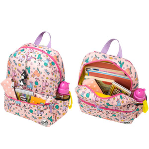 Zip and Zoe by Babymel Junior backpack llama, front pocket and main compartment open and filled with books, pencil case, snacks and water bottle | school bags for girls | backpacks for girls | kids school bags | kids backpacks