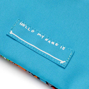 Zip and Zoe by Babymel pencil case robot blue, close up of name label | pencil case | school pencil case | pencil case for boys | pencil case for girls