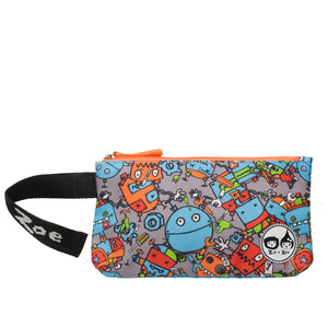 Zip and Zoe by Babymel pencil case robot blue, front view with velcro wrist strap open | pencil case | school pencil case | pencil case for boys | pencil case for girls