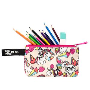 Zip and Zoe by Babymel pencil case unicorn, front view, open with pencils and rubber spilling out | pencil case | school pencil case | pencil case for boys | pencil case for girls