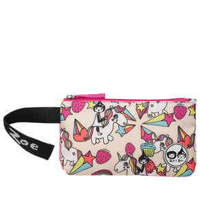 Zip and Zoe by Babymel pencil case unicorn, front view with velcro wrist strap open | pencil case | school pencil case | pencil case for boys | pencil case for girls