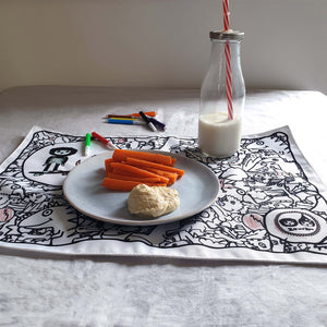 Zip and Zoe by Babymel colour & wash placemat, dinosaur, with plate of food, milk bottle and washable felt tip pens | colour in placemat | kids colouring