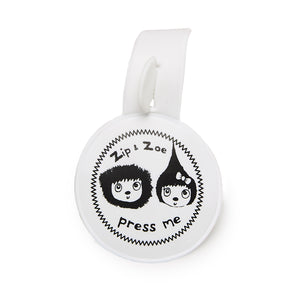 Zip and Zoe by Babymel press me tag, front view | musical tag | keychain | collectable