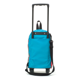 Zip and Zoe by Babymel kid's mini trolley bag robot blue, back view, with telescopic handle up | wheeled bag | kids suitcase | trolley bag | kids travel bag