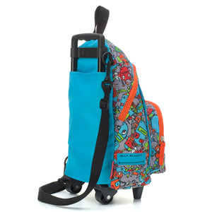 Zip and Zoe by Babymel kid's mini trolley bag robot blue, back side view | wheeled bag | kids suitcase | trolley bag | kids travel bag