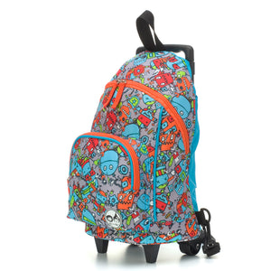 Zip and Zoe by Babymel kid's mini trolley bag robot blue, side view | wheeled bag | kids suitcase | trolley bag | kids travel bag