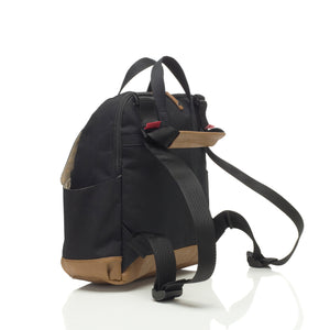 Babymel convertible changing bag , Robyn Black, back view showing convertible straps, backpack unisex changing bag, rucksack bag baby bag