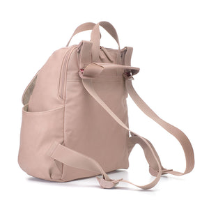 Babymel convertible changing bag, Robyn vegan leather blush,back view as backpack, faux leather PU backpack changing bag, rucksack