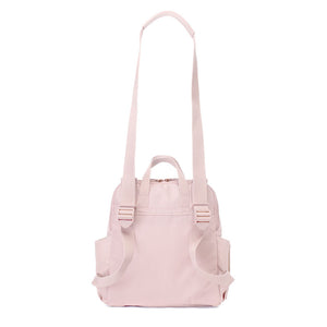 Babymel convertible changing bag, Robyn vegan leather blush, back view as shoulder bag, faux leather PU backpack changing bag, rucksack