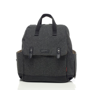 Babymel convertible changing bag , Robyn tweed, front view, grey unisex backpack changing bag, durable rucksack