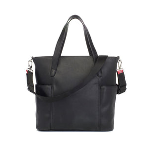 Babymel changing bag, Rosie vegan leather black tote, back view, faux leather PU handbag shoulder bag,