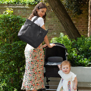 Babymel changing bag, Rosie vegan leather black tote, mum wearing bag with toddler, faux leather PU handbag shoulder bag,