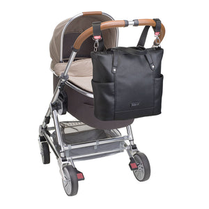 Babymel changing bag, Rosie vegan leather black tote, bag attached to pram, faux leather PU handbag shoulder bag,