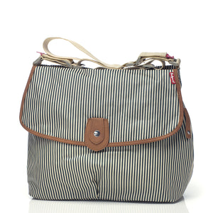 Babymel satchel stripe navy, changing bag, front view, cross body bag, shoulder bag, baby bag