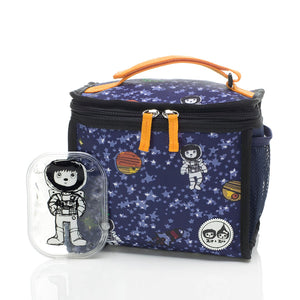 Zip and Zoe by Babymel zipped lunchie and ice pack spaceman, front view with Zip spaceman ice pack | lunch bag | boys lunch bag | girls lunch bag