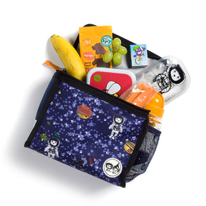 Zip and Zoe by Babymel zipped lunchie and ice pack spaceman, laying down with snacks spilling out | lunch bag | boys lunch bag | girls lunch bag | ice pack