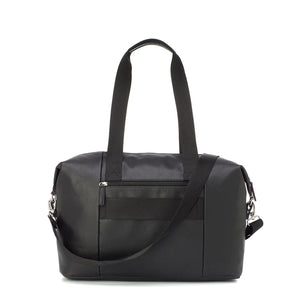 Babymel Hospital bag, Stef Vegan Leather Black changing bag, back view, faux leather hold-all, weekend bag.