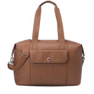 Babymel Hospital bag, Stef Vegan Leather Tan changing bag, front view, faux leather hold-all, weekend bag.