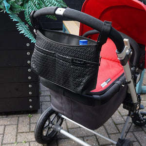 Babymel stroller organiser black, Scuba buggy caddy, organiser on pram