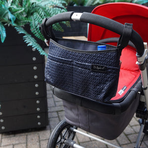 Babymel stroller organiser navy, scuba buggy caddy, caddy attached to pram