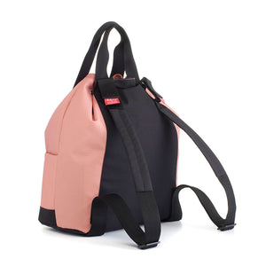 Babymel Changing bag backpack, top 'n' tail eco rose, recycled material,  drawstring rucksack, back view